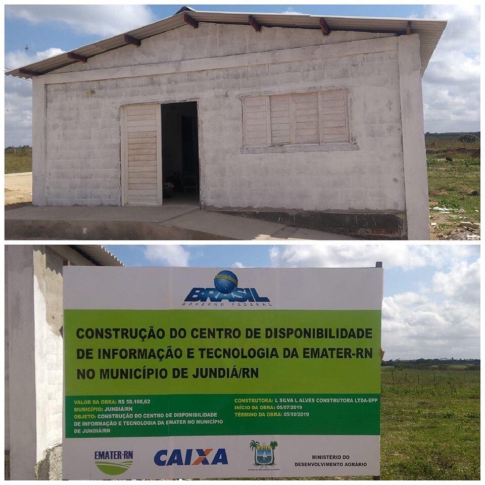 O Centro de Disponibilidade e Tecnologia da EMATER no município de Jundiá está em fase final.