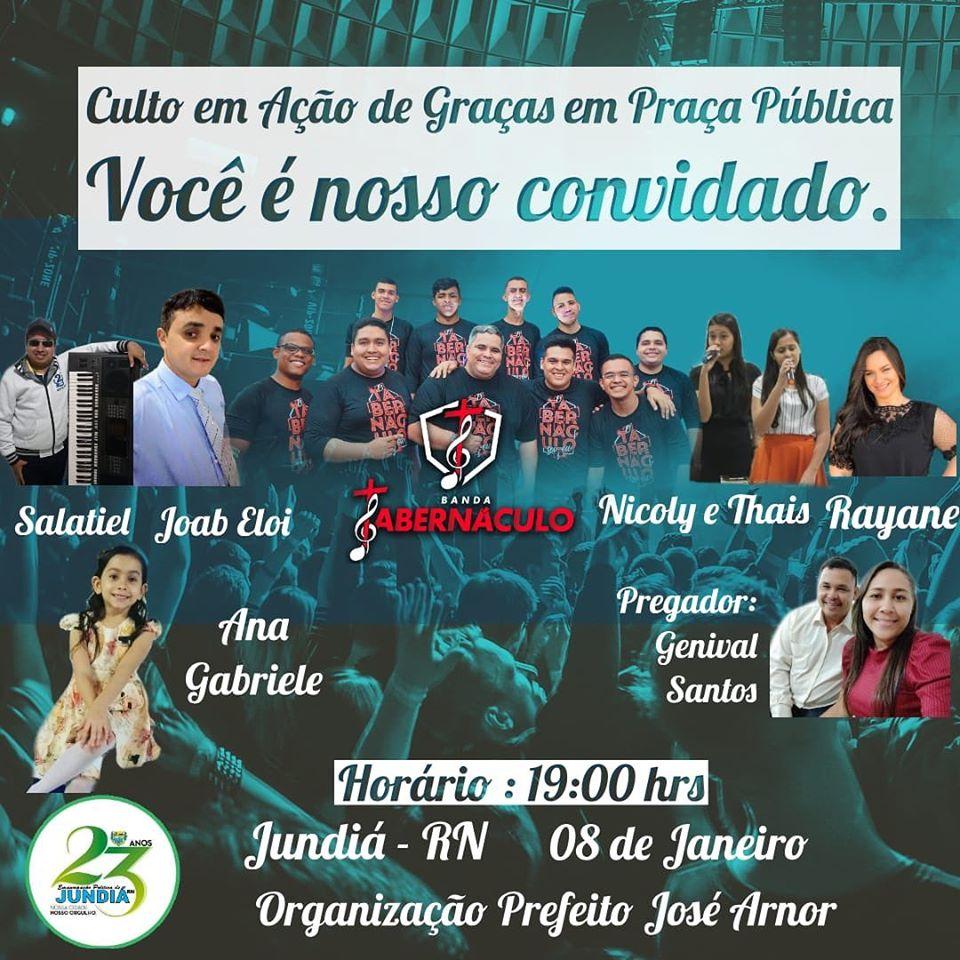 Prefeito convida população para o culto de ação de graças pelos 23 anos de Emancipação Politica.