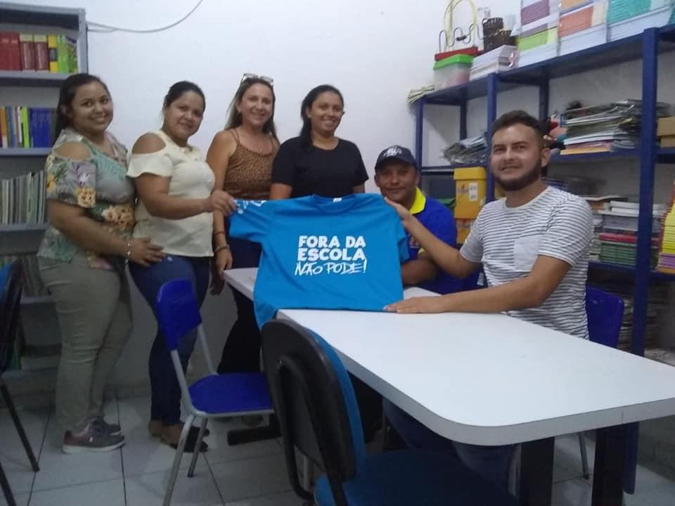 Os membros do Conselho Tutelar de Jundiá/RN visitam escolas do município.