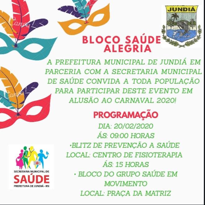 Prefeitura de Jundiá convida população para participar do bloco saúde.