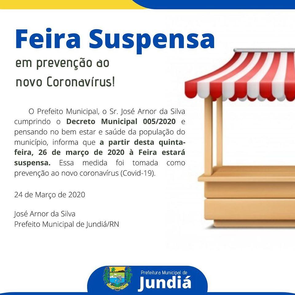 Prefeitura suspende feira livre como prevenção ao (Covid-19).