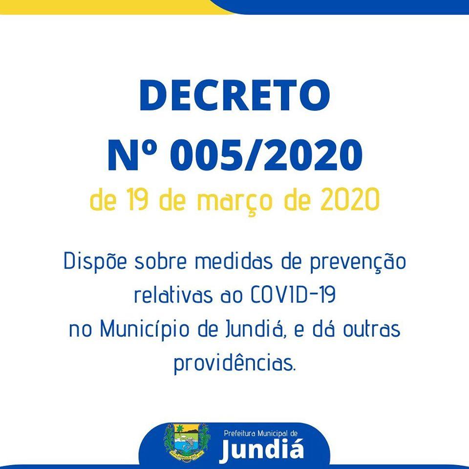 Decreto 005/2020 de 19 de março de 2020.