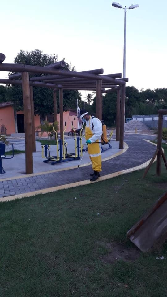 Prefeitura realiza desinfecção de locais públicos no município.