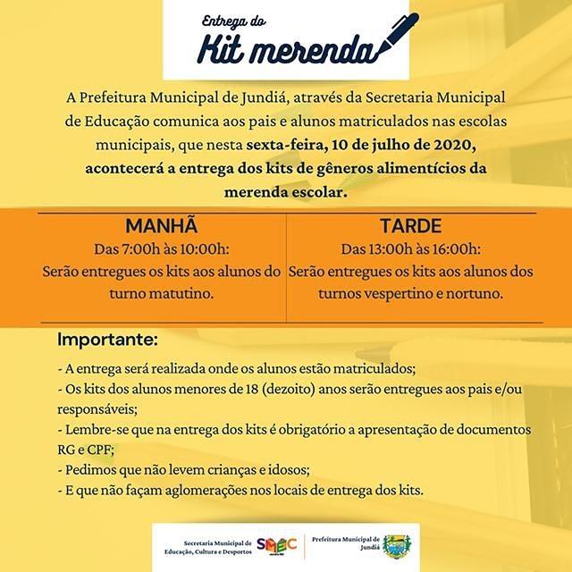 Prefeitura através da Educação  entrega kits de gêneros alimentícios da merenda escolar.