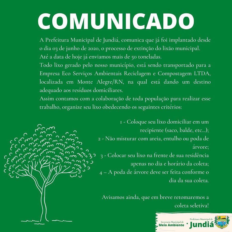 Comunicado da Secretaria Municipal de Meio Ambiente.
