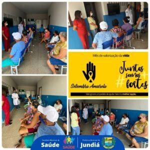 Secretaria de Saúde de Jundiá realiza ações de sobre a campanha Setembro Amarelo.